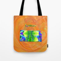 kansas Tote Bags featuring Kansas Map by Roger Wedegis