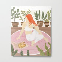 Yoga + Pizza, Red Head Woman Work Out Stay At Home, Ginger Plant Lady Home Decor Food Illustration Metal Print
