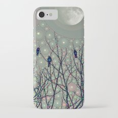 A Dawning with black birds lights on bare branches stars and gibbous moon  Slim Case iPhone 8
