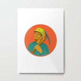 Coal Miner Pick Axe Circle Watercolor Metal Print