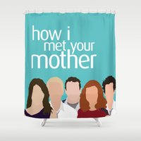 how i met your mother Shower Curtains featuring How I Met Your Mother by Rosaura Grant