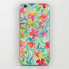 Tropical Floral Watercolor Painting iPhone Skin