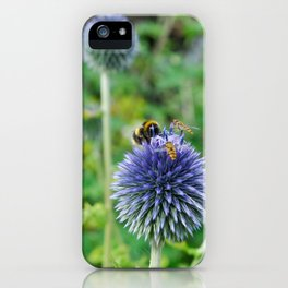 The Buzz in the Garden Blue Globe Flowers iPhone Case