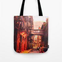 new york city Tote Bags featuring New York City Alley by Vivienne Gucwa