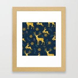 Golden Reindeer Framed Art Print