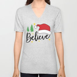 Santa Believe in Santa Clause Christmas Santa Hat Unisex V-Neck