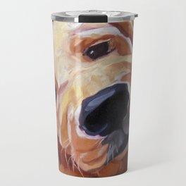Golden Retriever Puppy Original Oil Painting Travel Mug