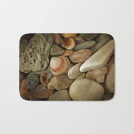 Sea Pebbles With Shells Bath Mat