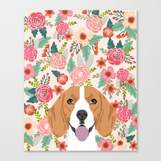 Beagle florals cute spring pet portrait dog lover gift idea beagle owners must haves flower power Canvas Print