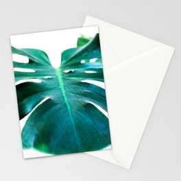 Monstera close up tropical leaf green turquoise photograhy Stationery Cards