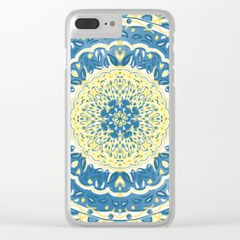 Blue and Yellow Tapestry Clear iPhone Case