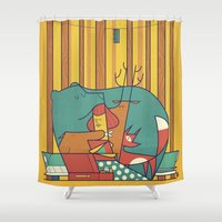 50s Shower Curtains featuring MUSIC by Ale Giorgini