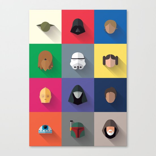 Icon Set Minimalist Poster Canvas Print