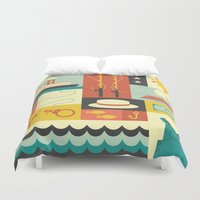 finn Duvet Covers featuring Huckleberry Finn by Ariel Wilson