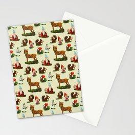 Vintage Christmas Woodland Deer Santa Snowman Watercolor Stationery Cards