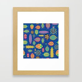 Tropical colorful bugs on a blue background pattern Framed Art Print