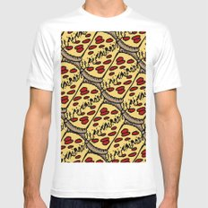 pattern pizza MEDIUM Mens Fitted Tee White