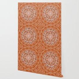 Detailed Burnt Orange Mandala Wallpaper