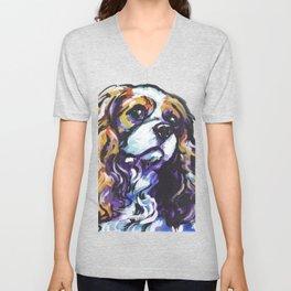 Blenheim Cavalier King Charles Spaniel Dog Portrait Pop Art painting by Lea Unisex V-Neck