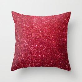 Red Glitter Throw Pillow