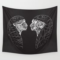 twins Wall Tapestries featuring Twins by Bazarovart
