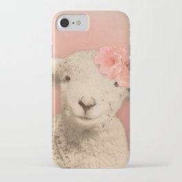 Flower Sheep Girl Portrait, Dusty Flamingo Pink Background iPhone Case