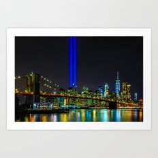 Tribute in Light and the Brooklyn Bridge, New York City Art Print