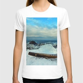 Spring Comes to the Beach in Ice that glows Blue T-shirt