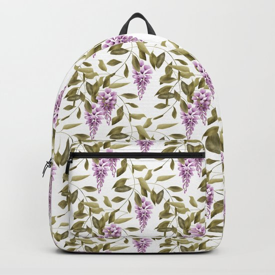 The Branches Of Wisteria .  White background . Backpack