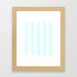 Light cyan heavenly - solid color - white vertical lines pattern Framed Art Print