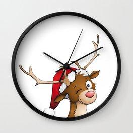 reindeer winking Wall Clock