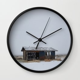 Hopeless, Abandoned, and Alone Under Grey Snow Filled Sky Wall Clock