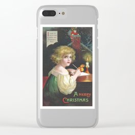 Christmas girl, writing a letter to Santa Claus, was painted by Ellen Clapsaddle Clear iPhone Case