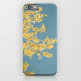 Mustard and Gold Leaves on Teal Blue iPhone Case