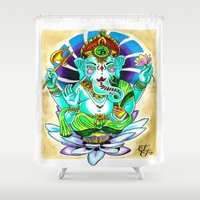 ganesh Shower Curtains featuring Ganesh by Lady Noire