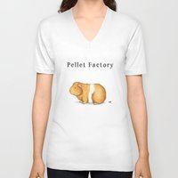 guinea pig V-neck T-shirts featuring Pellet Factory - Guinea Pig Poop by When Guinea Pigs Fly
