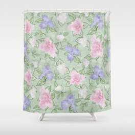 Flower Play Pink Lavender Green Antique Look Shower Curtain