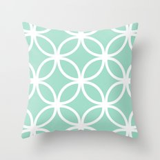 Mint Geometric Circles Throw Pillow