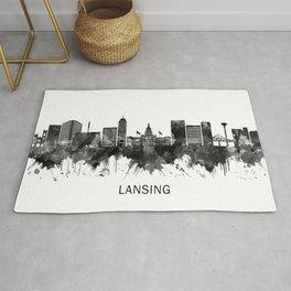 Lansing Michigan Skyline BW Rug