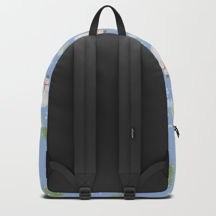 Winter . Christmas . New year . Blue background . Backpack