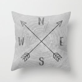 Compass Black and White Tree Throw Pillow