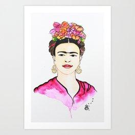 Frida Magenta Art Print