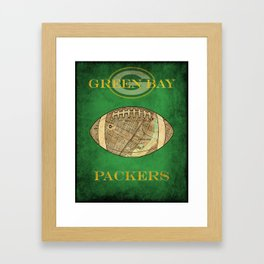 A Packers poster with the stadium map superimposed on a football soc5 Framed Art Print