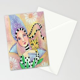 Whimsy Girl with Cat Stationery Cards