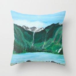 Avalanche Lake Mountain Waterfall Art Throw Pillow