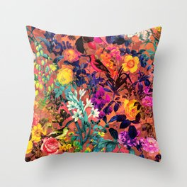 Floral and Birds II Throw Pillow