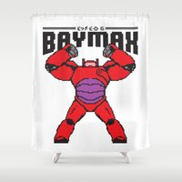 baymax Shower Curtains featuring BAYMAX (8BIT) by Akiwa
