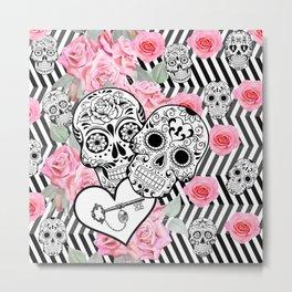 Locked in Love Sugar Skulls n Roses Metal Print