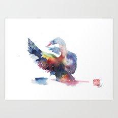 Rainbow swam Art Print
