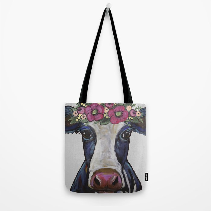 Colorful Cow Art, Georgia the cow with Flower crown Tote Bag